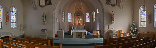 Saint Joseph Roman Catholic Church, in Zell, Missouri, USA - wide view of nave