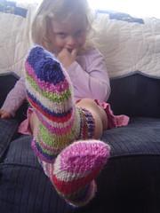L. wearing her new socks