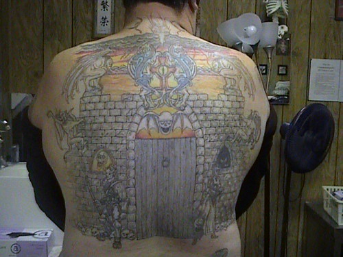 Full Colour Back Tattoo of Castle Door