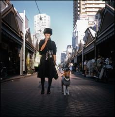 gluttony (TommyOshima) Tags: dog simon tlr tokyo downtown icecream gelato basenji fujifilm russian tsukishima vii clarice 80mm f35 flexaret rdpiii belar thedefiningtouch