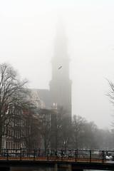 2561 Westertoren, foggy morning (blacque_jacques) Tags: amsterdam prinsengracht westertoren westerkerk