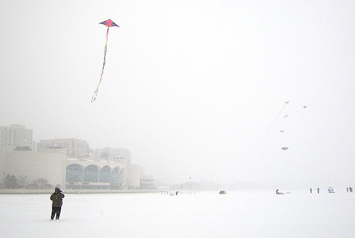 Monona Terrace with Kites and Snow