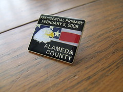 Feb. 5 2008 election pin for Alameda Co.
