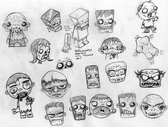 Zombie Sketches (macula1) Tags: illustration pen pencil ink paper drawing character doodle zombies horde loose zombi papercraft livingdead walkingdead nzambi quickdrawing corporealghost deathpuppet