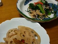 20080310_小松菜入りハリハリ漬け、レンコンのきんぴら