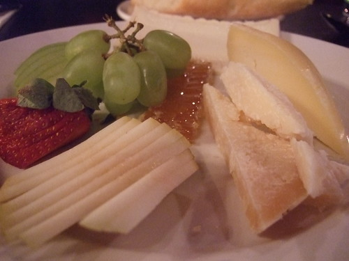 cheese plate with honeycomb