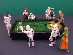 Casino Royale. (waihey) Tags: starwars stormtroopers chips betting stakes winning losing imperialofficer roulettetable gabling jabbathehuttsdancers