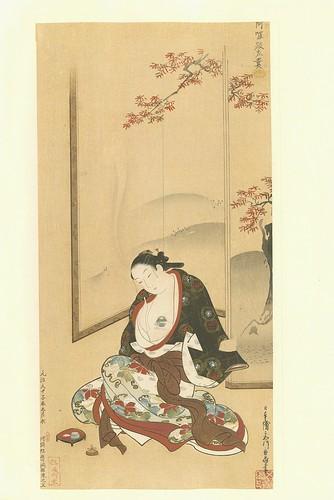 Una dama perfumando su ropa -artista Chôki Miyagawa