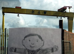 Flat Stanley at the Belfast Cranes