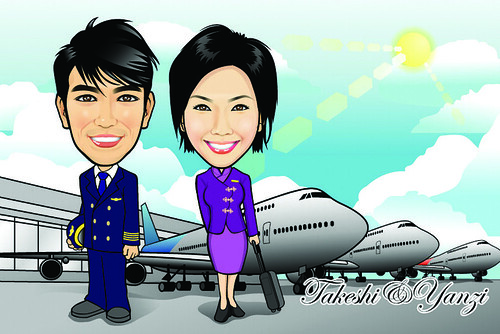 Q-Digital Caricatures - Airlines
