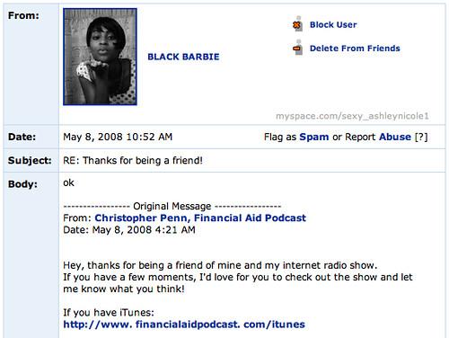 MySpace messages