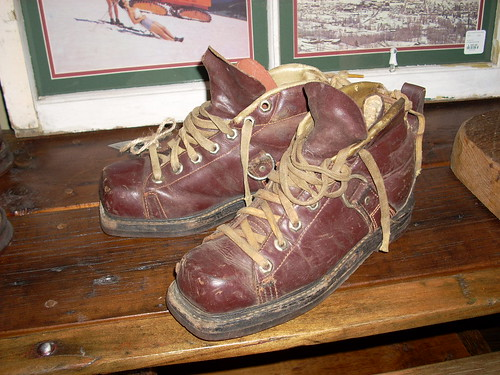 Vintage Ski Boots - Leather Lace Up Ski Boots