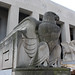 Architectural details on the exterior of Soldiers Memorial Military Museum are being carefully cleaned. A yet-to-be-cleaned eagle detail is seen here in the foreground while a stunning Walker Hancock sculpture stands freshly cleaned in the background.