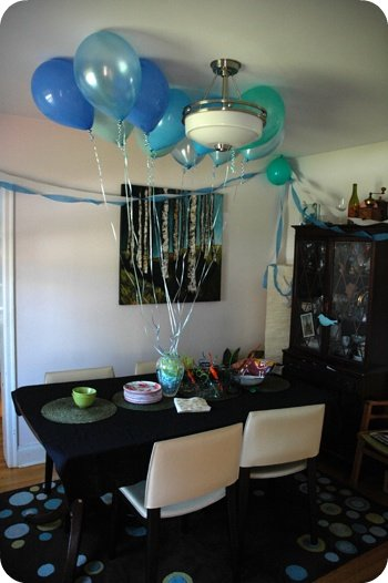balloons, quiet dining room