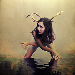 camouflage (brookeshaden) Tags: watercolor deer antlers human camouflage mimic blending neutral brookeshaden modeloliviaclemens