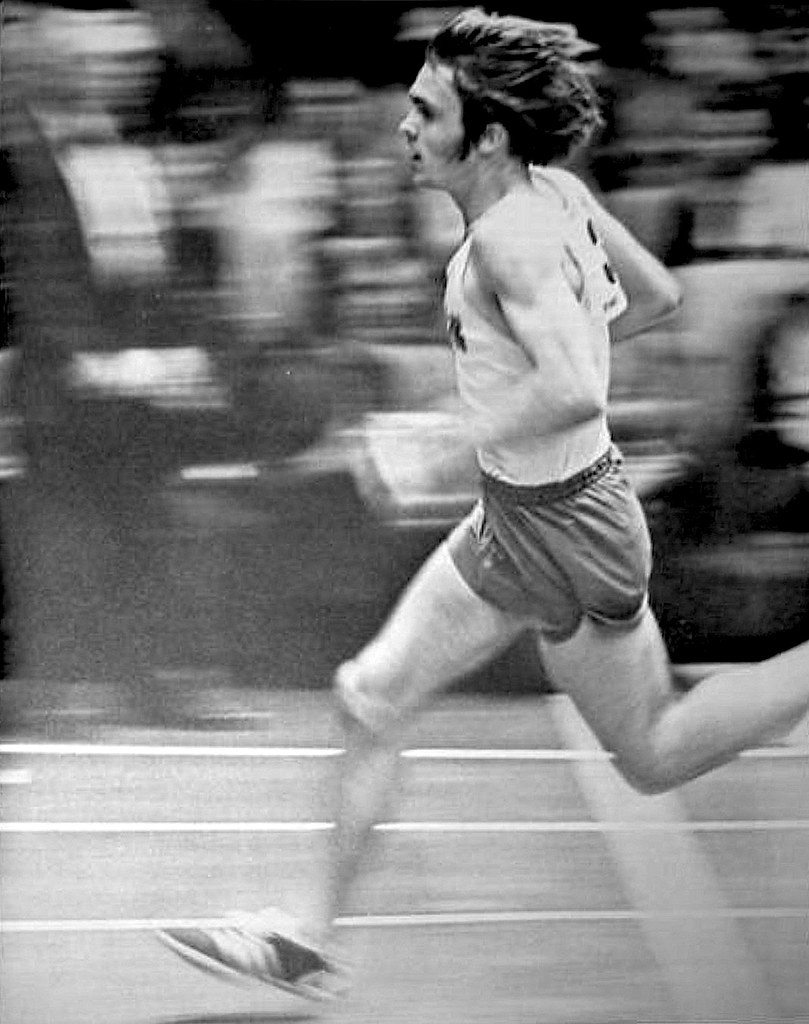 Steve Prefontaine, #3, wins the indoor 2-mile event of the Feb 11, 1972, Los Angeles Times Indoor Games in a time of 8:26.6
