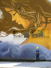Whisper (Merodema) Tags: man wall reading montreal innocent helmet muur tekening meneer blijft onschuldig