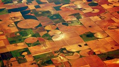 Crops, Above The Great Plains, USA (drhundertwasser) Tags: sky usa abstract nature airplane landscape grid flying desert earth geometry great flight atmosphere aerial growth civilization fractal crops plains rectangle overhead birdseye mankind greatplains