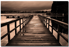Everybody's Workin' For The Weekend!?! (donpar) Tags: park sky lake water sepia pier washington fisherman afternoon pacific northwest overcast everybody greenlake soe landcape workin donpar forweekend