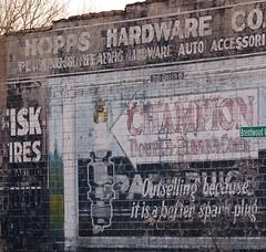 Hopps Hardware sign, Woodward near 7 Mile, Detroit (Tiz_herself) Tags: signs architecture advertising nikon michigan detroit champion leadpaint sparkplugs d40x hoppshardware