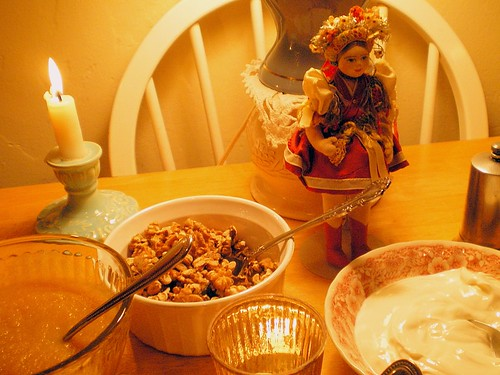 Vintage Czechoslovakian Handcrafted Doll Presides over Pierogi Meal