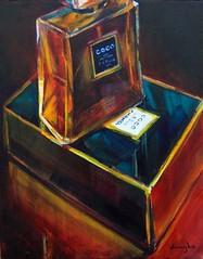 COCO - Sold (vaught_celeste) Tags: life blue red fab art glass painting gold golden amber still shiny acrylic perfume box rich deep coco spicy oriental chanel fragrance celeste vaught abigfave diamondclassphotographer flickrdiamond goldstaraward