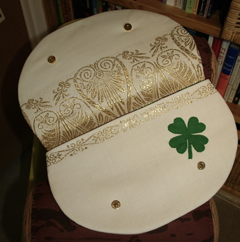 Lucky clutch purse, open