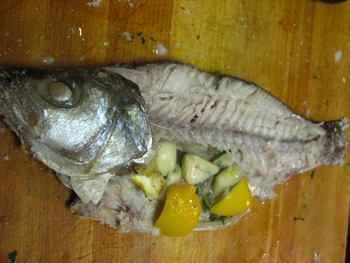 Whole Snapper In Process of Being Fileted