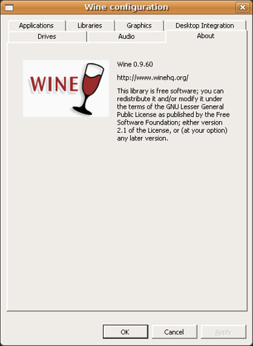Screenshot-Wine configuration