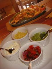 Chicken fajitas and accompaniments at La Cantina, Mexican Restaurant, Leith, Edinburgh