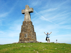 Cross on the Summit of Saibi - Basque Country, Spain (Batikart) Tags: travel blue vacation sky people cloud sun mountain holiday plant man flower color green art nature berg grass weather canon landscape geotagged spring spain europa europe cross pov urlaub natur meadow wiese himmel wolke peak bilbao kreuz april grn blau proportion landschaft bizkaia durango esp euskalherria euskadi vizcaya bilbo basquecountry paisvasco spanien vacanze 2010 frhling baskenland saibi naturpark gipfel urkiola canonpowershota610 biskaya igorre viewonblack duranguesado batikart