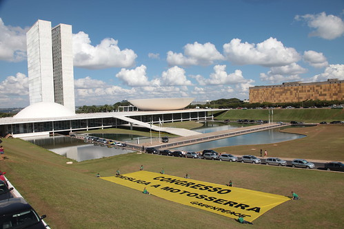 Activists tell the Brazilian Congress to turn off the chainsaw