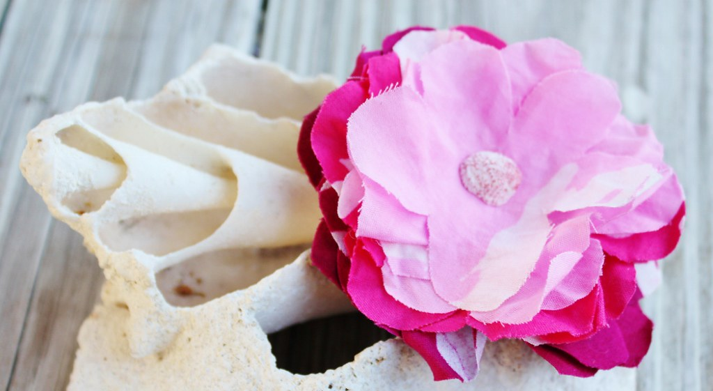 Pink Androsia Flower Brooch