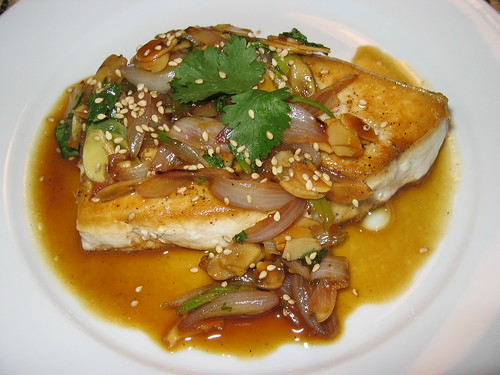 Swordfish with Amandine Sauce