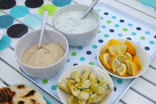 hummus, chokes, lemon & tzatziki
