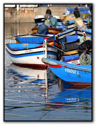 Blue boats....
