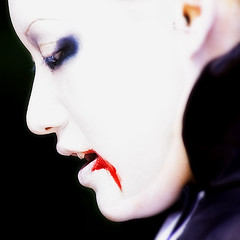 stained lips (ajpscs) Tags: street portrait white stain strange japan asian japanese tokyo weird blood nikon asia cosplay freaky odd harajuku  nippon  d100 queer bizarre extraordinary whiteface offbeat  peculiar  uncommon ajpscs nikonstunninggallery japanesefashionscene stainedlips newgeisha