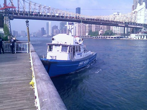 Pier with NYPD Boat
