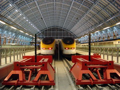 Eurostar St Pancras International (kpmarek) Tags: uk greatbritain england london station st train eurostar unitedkingdom rail railway trainstation gb stpancras trainshed railstation highspeedrail londonstpancras stpancrasinternational highspeed1