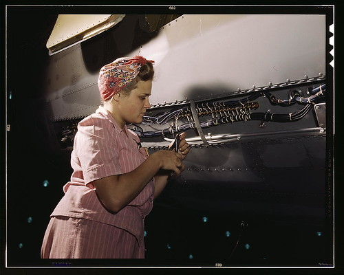 With careful Douglas training, women do accurate electrical assembly and installation work, Douglas Aircraft Company, Long Beach, Calif. (LOC)