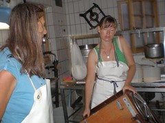 femalecheesemaker358 (schuerzie) Tags: cheese apron frau making kserei
