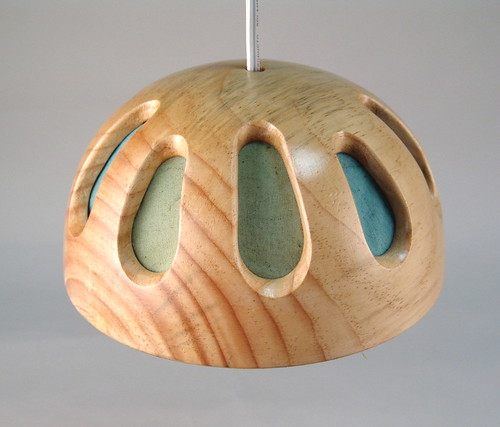 wood and fabric lamps