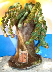 Felted rasta willow tree with Fairy door