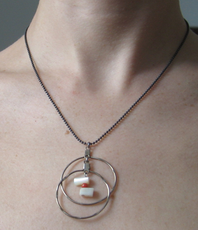 Found objects Necklace - metal hoops with pearl and coral