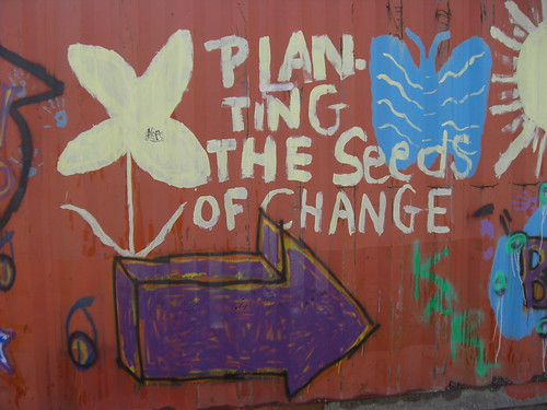 "graffiti: a white flower, a bluebutterfly and a big purple arrow, surrounding the words, ""planting the seeds of change"""