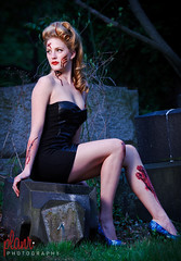 Ashlynn Zombie Pinup - IMG_2326 (Planr Photography) Tags: camera eve light woman beautiful cemetery grave sunglasses canon hair effects photography scary blood model eric pittsburgh dress natural fierce zombie tombstone feathers scratches special spooky pa 7d blonde horror l undead haunting fx bartel pinup wounds ingram 70200mm lr3 crafton ashlynn planr 70200mmf4isl lightroom3 zombiepinup mm1013565