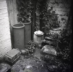 Chimney Pots in the Tara Bryan Gallery (akki14) Tags: rodinal delta3200 guesswherelondon gwl guessedbymaybeitsbecause