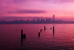 Sunrise in Seattle from Alki Beach (David M Hogan) Tags: seattle pink fog sunrise washington cityscape foggy pugetsound pilings elliottbay soe davidhogan bachspicsgallery great123