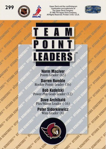 Upper Deck, 93-94, Ottawa Senators, Team Leaders, back