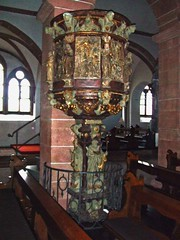 Aschaffenburg: Town Centre: Stiftsbasilika (Collegiate Church) St Peter & Alexander (bill barber) Tags: art stone germany bayern deutschland gold bill artwork sandstone pierre main decoration craft william ornament german elements barber alemania kraftwerk baroque tyskland stein sandstein barock bundesrepublik casanova rococo germania alemanha kraft duitsland grs gilt deutsche aschaffenburg ornamentation piedra rivercruise photoshopelements craftwork lallemagne collegiatechurch spessart billbarber doitsu niemcy njemaka saksa imagepoetry nmetorszg arenisca njemacka  nemecko abigfave platinumphoto stiftsbasilika wdwbarber kreisfreiestadt stpeteralexander williambarber peterdeilmann bbarber1 mscasanova germnia puilpit